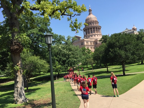 Photo of Texas Youth Tour delegation at Texas State Capital
